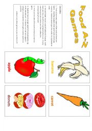 English Worksheet: Food: A-Z Games