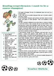 Reading comprehension: I want to be a soccer champion!