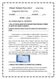 English worksheet: english test n3 9th grade