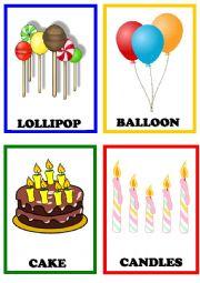 English Worksheet: Birthday flashcards