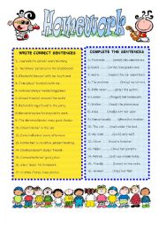 English Worksheet: GRAMMAR HOMEWORK