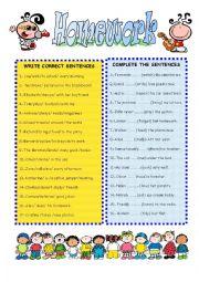 English Worksheet: GRAMMAR HOMEWORK