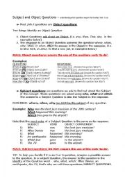 English Worksheet: Subject & Object Questions