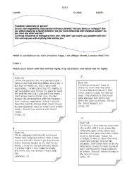 English Worksheet: Agony aunt test