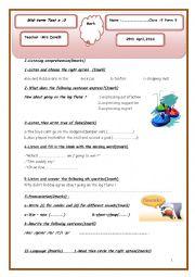 English Worksheet: Mid-term test N:3