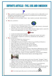English Worksheet: The definite article: use and omission + exercise