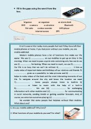 English Worksheet: functions of mobile phones