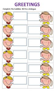 Greetings! Complete the speech bubbles 1. - ESL worksheet by ...