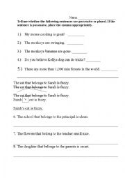 English Worksheet: Quiz on Possessive Nouns