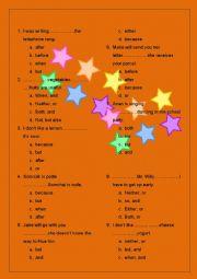 English Worksheet: conjunction