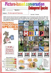 English Worksheet: Picture based conversation.  Endangered Species. (Debating) 16/�