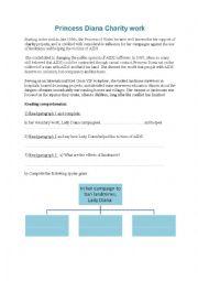 English Worksheet: Princess Diana�s charity work