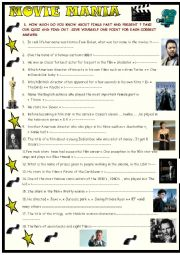 Movie  mania: a quiz on cinema