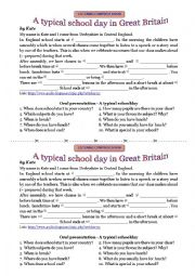English Worksheet: A typical schoolday in Great Britain