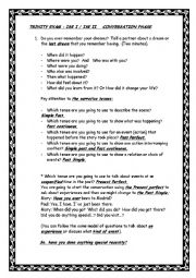 English Worksheet: TRINITY EXAM  ISE O, I AND II.  CONVERSATION PHASE  AND PORTFOLIO