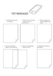 English Worksheet: TXT MESSAGES