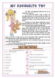 english worksheets my favourite toy reading english worksheet my favourite toy reading