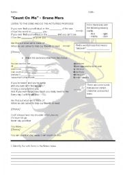 English Worksheet: Count on Me by Bruno Mars. Song worksheet.