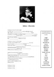 English Worksheet: Believe - Elton John