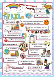 English Worksheet: April International Days