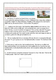 English Worksheet: 5th form Reading Exam about story elements and character´s motives