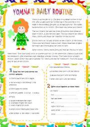 English Worksheet: YOMNA�S DAILY ROUTINE
