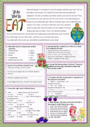 English Worksheet: WE ARE WHAT WE EAT!