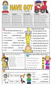 English Worksheet: have got affirmative