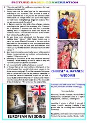 English Worksheet: Picture-based converstation : topic 67 - Eastern wedding vs European wedding