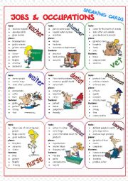 English Worksheet: Jobs & Occupations Speaking Cards