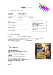 English Worksheet: Happy - Pharrell Williams with Key
