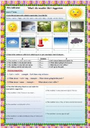 English Worksheet: what´s the weather like?+suggestion making