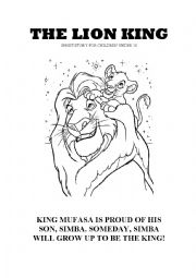 english worksheets the lion king short story for elementary primary school students. Black Bedroom Furniture Sets. Home Design Ideas