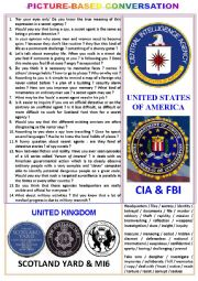 English Worksheet: Picture-based conversation : topic 70 - Scotland Yard & MI (5 or 6) vs CIA & FBI