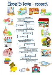 English Worksheet: Town and buildings