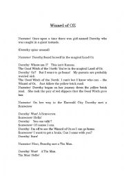 English Worksheet: Wizard of Oz Play