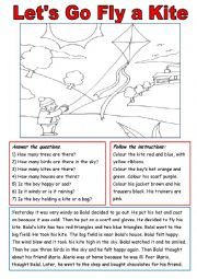 English worksheet: Let´s Go Fly  a Kite!