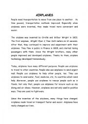 English Worksheet: AIRPLANES, Orville and Wilbur Wright, airplane