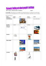 English Worksheet: Information transfer pairwork: Finding out about people�s holiday