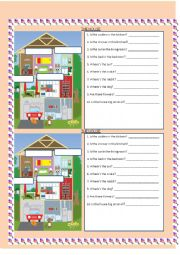 English Worksheet: The house - name the parts of the house and answer simple