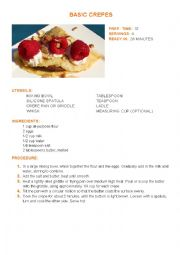 English Worksheet: Cooking Class - Basic Crepes