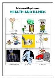 English Worksheet: Idioms with pictures: HEALTH AND ILLNESS
