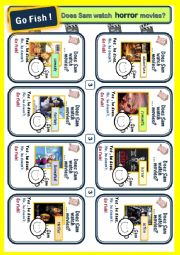 English worksheets movie genres 4 game cards for go fish for Go fish film