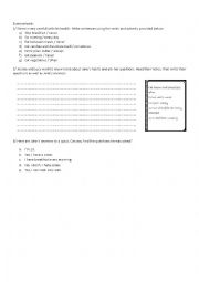 English Worksheet: food and health habits exercices