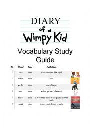 English Worksheet: Diary of a Wimpy Kid Vocabulary Study Guide Part 1 of 3