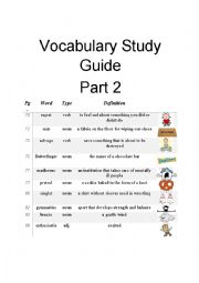 English Worksheet: Diary of a Wimpy Kid Vocabulary Study Guide Part 2 of 3
