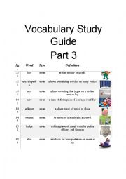 English Worksheet: Diary of a Wimpy Kid Vocabulary Part 3 of 3