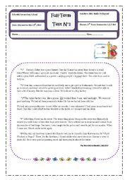 English Worksheet: 2nd Form Full-Term Test n°1