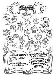 English Worksheet: Angel is cooking