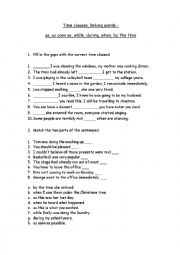 English Worksheet: time clauses, linking words